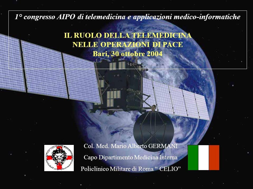 1° congresso AIPO di telemedicina e applicazioni medico-informatiche IL RUOLO DELLA TELEMEDICINA NELLE OPERAZIONI DI PACE Bari, 30 ottobre 2004 Col. M