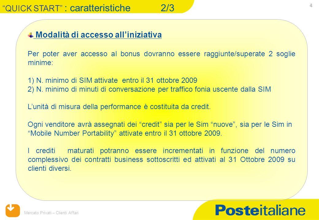09/02/2014 Mercato Privati – Clienti Affari 4 Modalità di accesso alliniziativa Per poter aver accesso al bonus dovranno essere raggiunte/superate 2 soglie minime: 1) N.