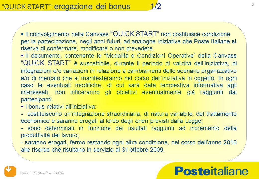 09/02/2014 Mercato Privati – Clienti Affari 6 Il coinvolgimento nella Canvass QUICK START non costituisce condizione per la partecipazione, negli anni futuri, ad analoghe iniziative che Poste Italiane si riserva di confermare, modificare o non prevedere.