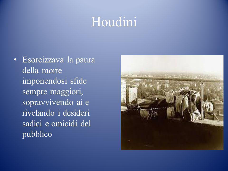 Houdini Esorcizzava la paura della morte imponendosi sfide sempre maggiori, sopravvivendo ai e rivelando i desideri sadici e omicidi del pubblico