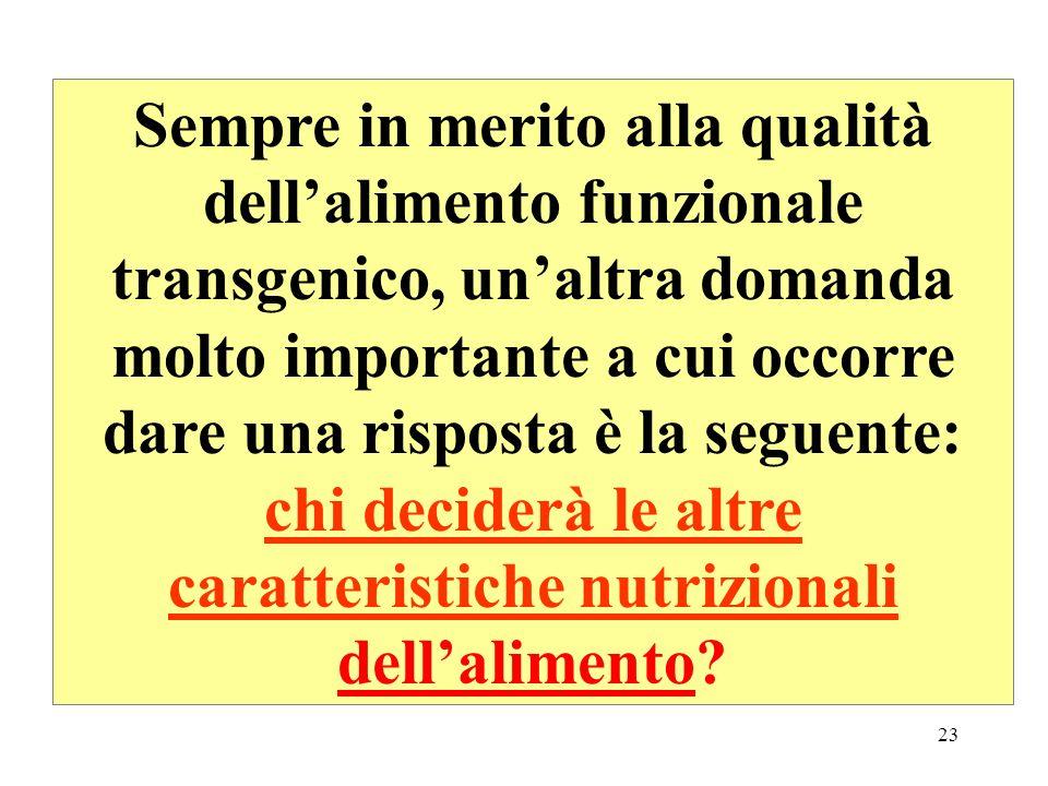 22 Il problema di maggior interesse riguarderà la qualità dellalimento funzionale transgenico.
