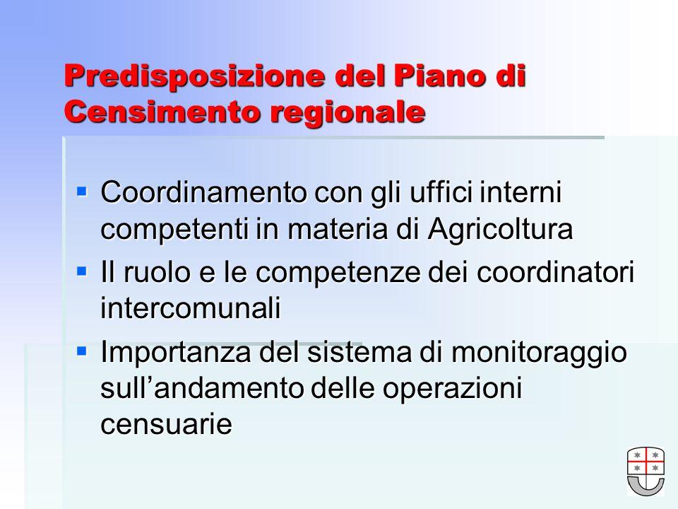 Predisposizione del Piano di Censimento regionale Coordinamento con gli uffici interni competenti in materia di Agricoltura Coordinamento con gli uffici interni competenti in materia di Agricoltura Il ruolo e le competenze dei coordinatori intercomunali Il ruolo e le competenze dei coordinatori intercomunali Importanza del sistema di monitoraggio sullandamento delle operazioni censuarie Importanza del sistema di monitoraggio sullandamento delle operazioni censuarie
