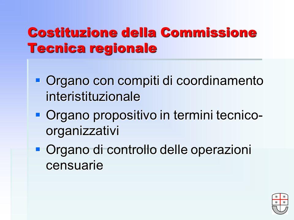 Costituzione della Commissione Tecnica regionale Organo con compiti di coordinamento interistituzionale Organo con compiti di coordinamento interistituzionale Organo propositivo in termini tecnico- organizzativi Organo propositivo in termini tecnico- organizzativi Organo di controllo delle operazioni censuarie Organo di controllo delle operazioni censuarie