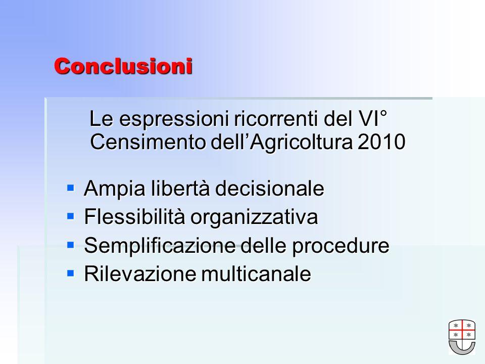 Conclusioni Le espressioni ricorrenti del VI° Censimento dellAgricoltura 2010 Ampia libertà decisionale Ampia libertà decisionale Flessibilità organizzativa Flessibilità organizzativa Semplificazione delle procedure Semplificazione delle procedure Rilevazione multicanale Rilevazione multicanale