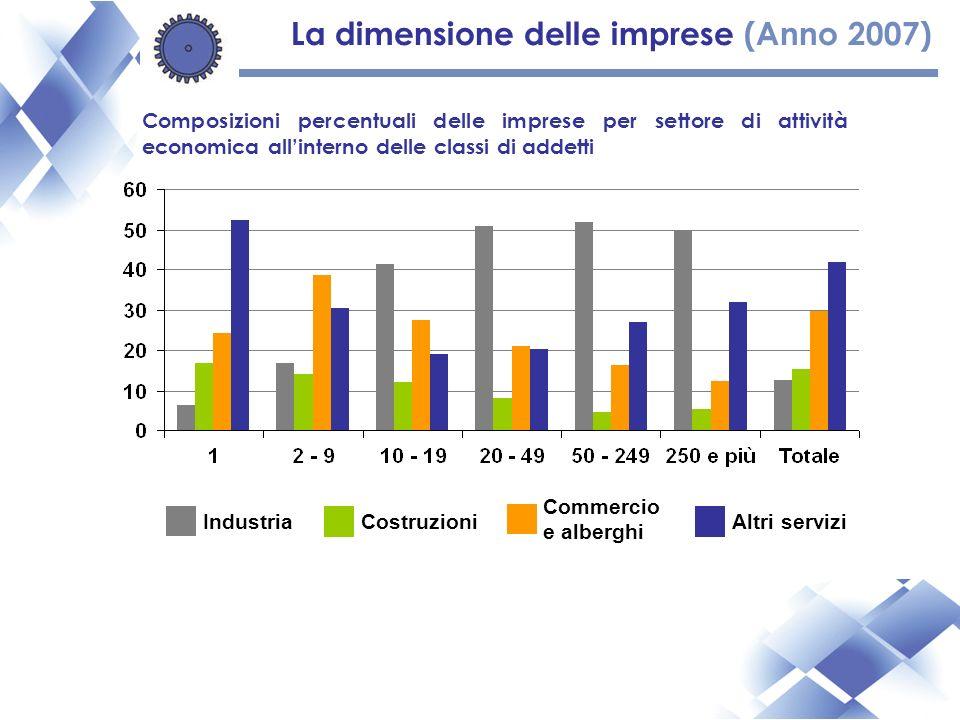Composizioni percentuali delle imprese per settore di attività economica allinterno delle classi di addetti IndustriaCostruzioni Commercio e alberghi Altri servizi La dimensione delle imprese (Anno 2007)