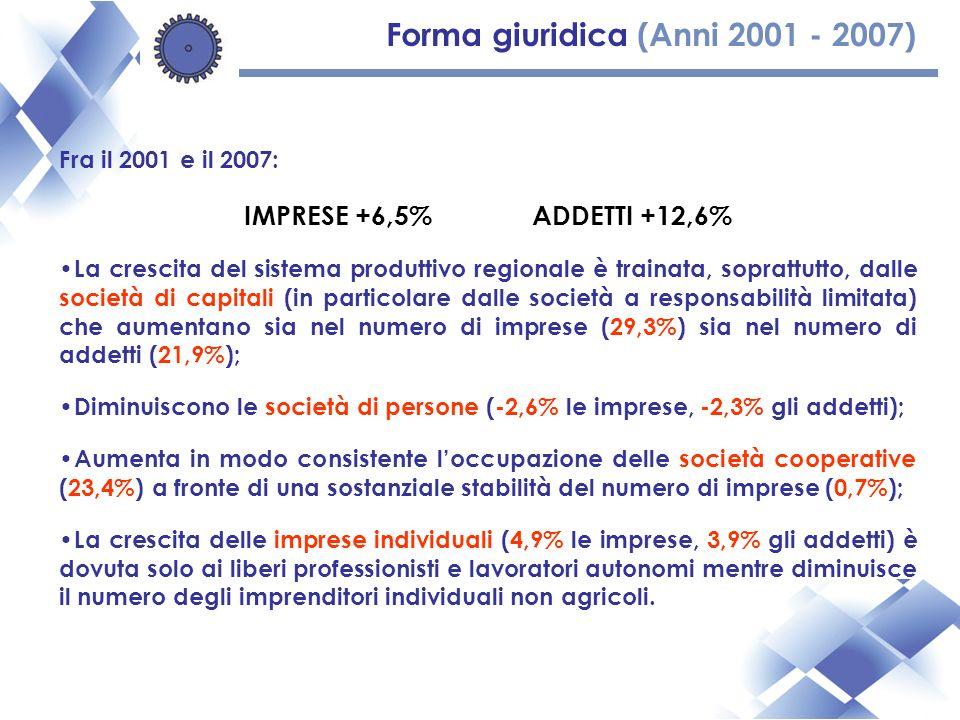 Forma giuridica (Anni 2001 - 2007) Fra il 2001 e il 2007: IMPRESE +6,5%ADDETTI +12,6% La crescita del sistema produttivo regionale è trainata, soprattutto, dalle società di capitali (in particolare dalle società a responsabilità limitata) che aumentano sia nel numero di imprese (29,3%) sia nel numero di addetti (21,9%); Diminuiscono le società di persone (-2,6% le imprese, -2,3% gli addetti); Aumenta in modo consistente loccupazione delle società cooperative (23,4%) a fronte di una sostanziale stabilità del numero di imprese (0,7%); La crescita delle imprese individuali (4,9% le imprese, 3,9% gli addetti) è dovuta solo ai liberi professionisti e lavoratori autonomi mentre diminuisce il numero degli imprenditori individuali non agricoli.