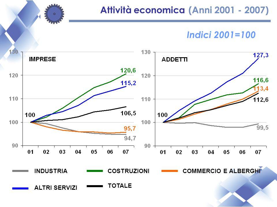Attività economica (Anni 2001 - 2007) Indici 2001=100 INDUSTRIACOSTRUZIONICOMMERCIO E ALBERGHI ALTRI SERVIZI TOTALE