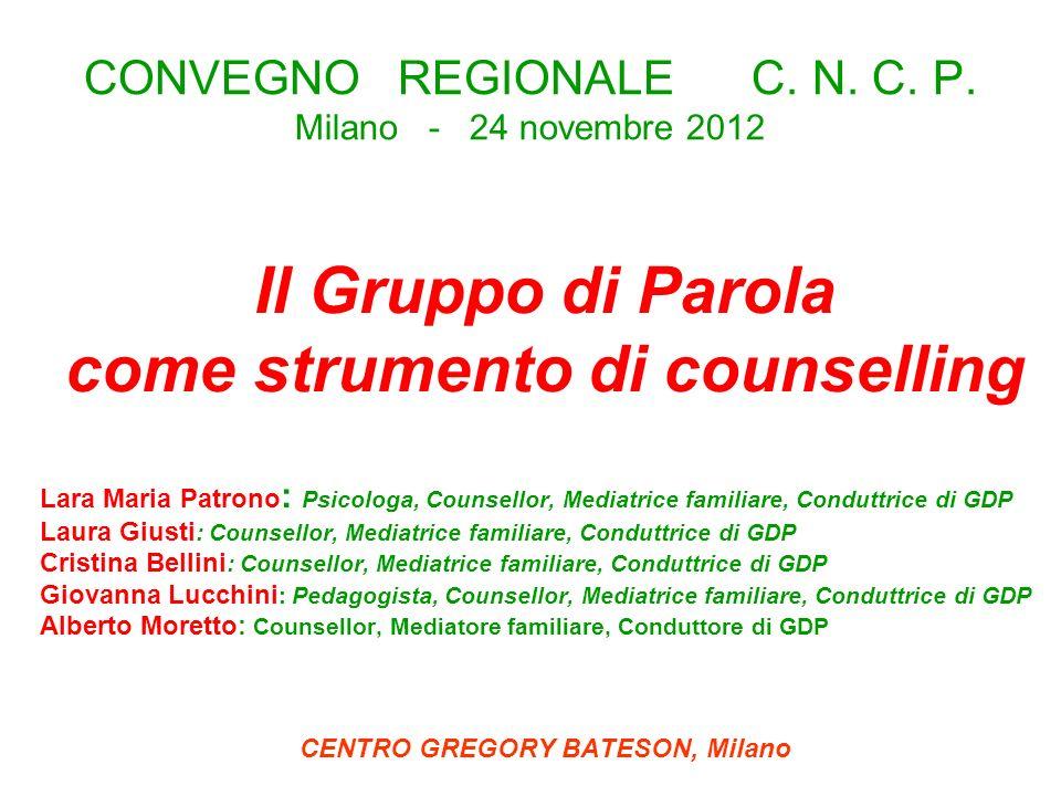 CONVEGNO REGIONALE C. N. C. P. Milano - 24 novembre 2012 Il Gruppo di Parola come strumento di counselling Lara Maria Patrono : Psicologa, Counsellor,