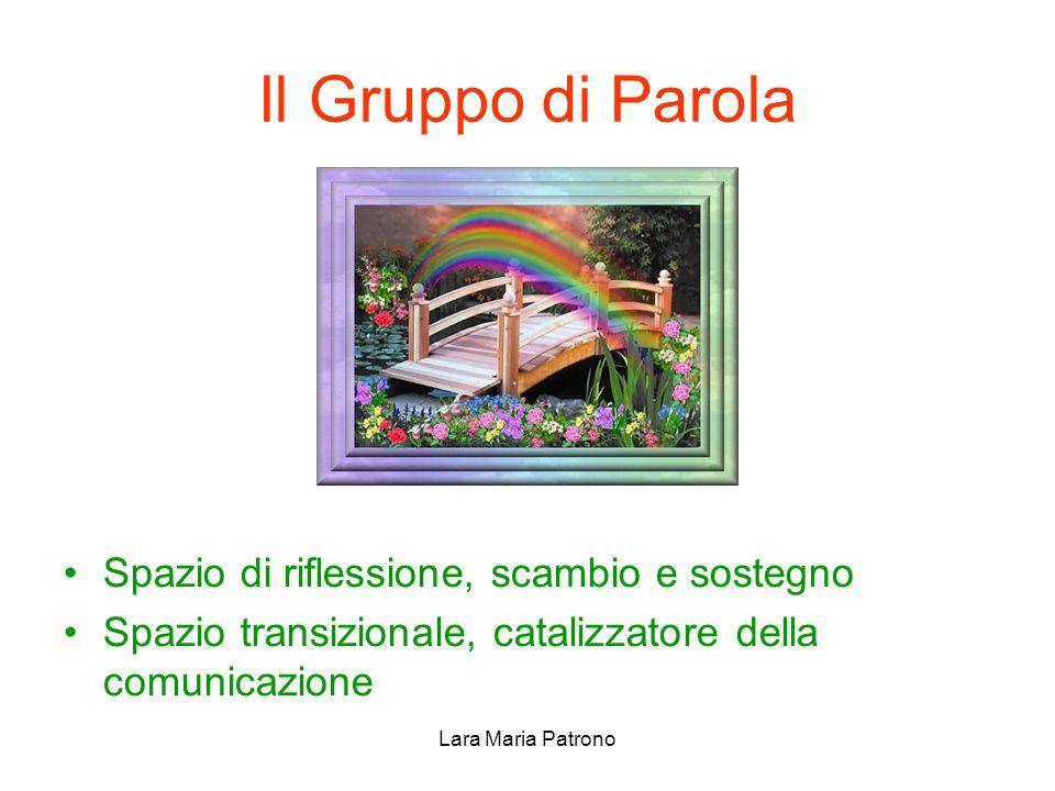Lara Maria Patrono Il Gruppo di Parola Spazio di riflessione, scambio e sostegno Spazio transizionale, catalizzatore della comunicazione