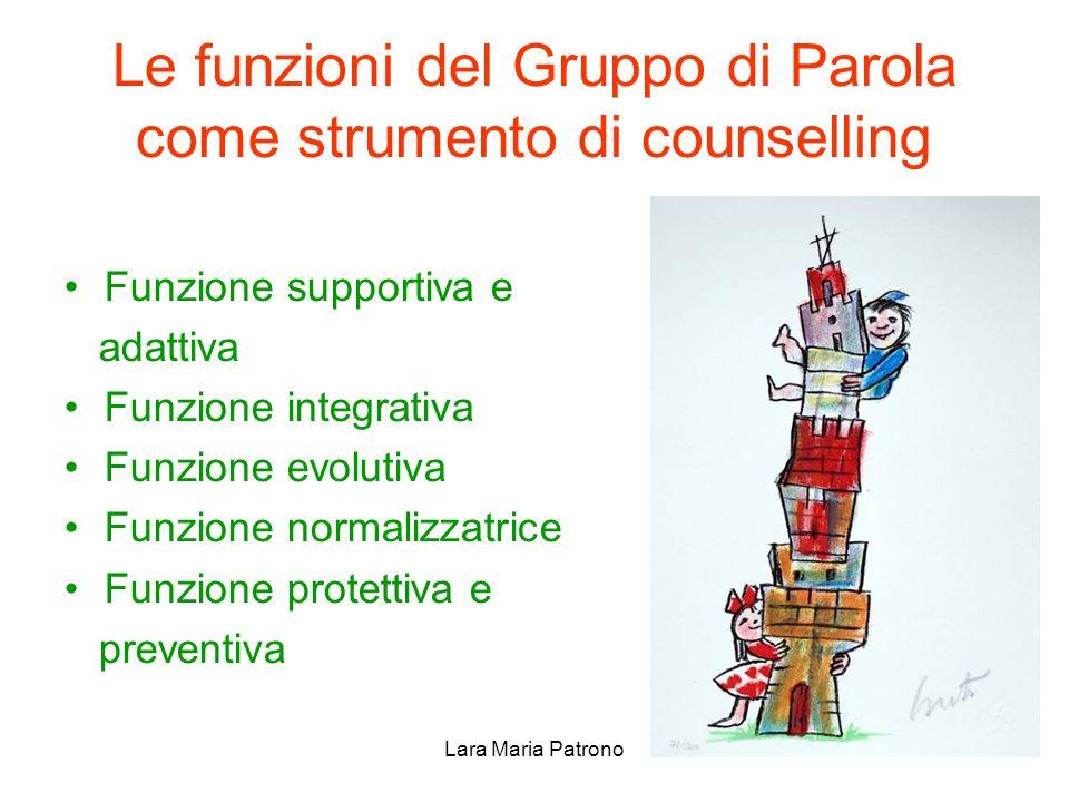 Lara Maria Patrono Le funzioni del Gruppo di Parola come strumento di counselling Funzione supportiva e adattiva Funzione integrativa Funzione evoluti