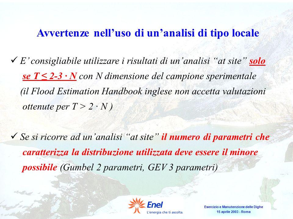 Esercizio e Manutenzione delle Dighe 15 aprile 2003 - Roma E consigliabile utilizzare i risultati di unanalisi at site solo se T 2-3 N con N dimension