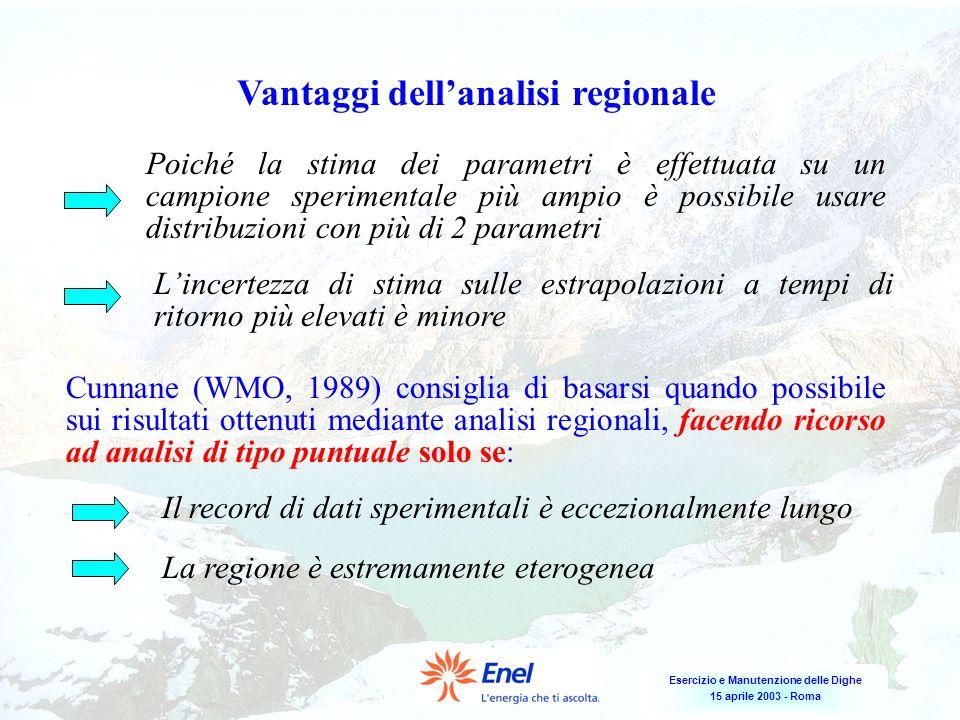 Esercizio e Manutenzione delle Dighe 15 aprile 2003 - Roma Vantaggi dellanalisi regionale Poiché la stima dei parametri è effettuata su un campione sp
