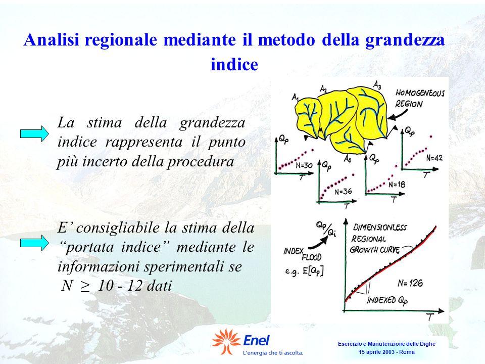 Esercizio e Manutenzione delle Dighe 15 aprile 2003 - Roma Analisi regionale mediante il metodo della grandezza indice La stima della grandezza indice