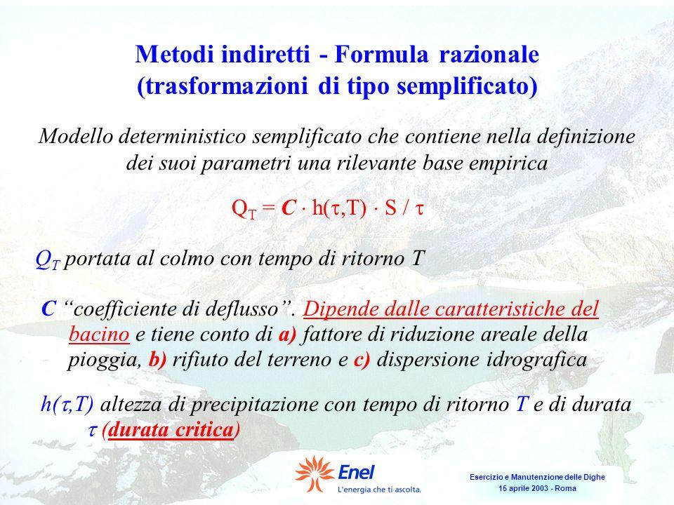 Esercizio e Manutenzione delle Dighe 15 aprile 2003 - Roma Metodi indiretti - Formula razionale (trasformazioni di tipo semplificato) Modello determin