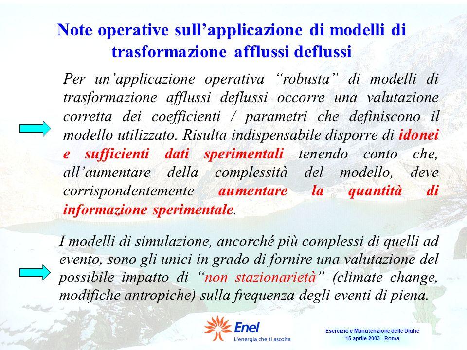 Esercizio e Manutenzione delle Dighe 15 aprile 2003 - Roma Note operative sullapplicazione di modelli di trasformazione afflussi deflussi Per unapplic