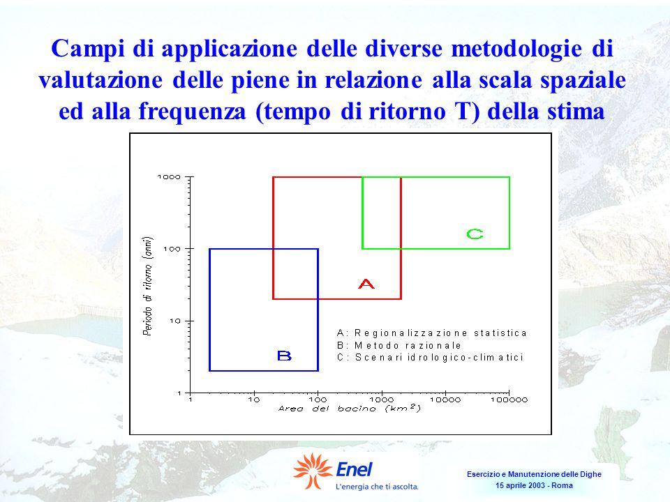 Esercizio e Manutenzione delle Dighe 15 aprile 2003 - Roma Campi di applicazione delle diverse metodologie di valutazione delle piene in relazione all