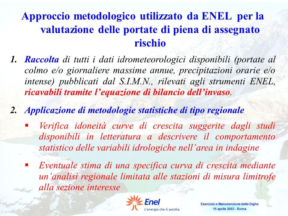 Esercizio e Manutenzione delle Dighe 15 aprile 2003 - Roma Approccio metodologico utilizzato da ENEL per la valutazione delle portate di piena di asse