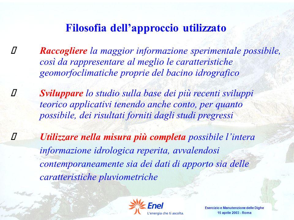 Esercizio e Manutenzione delle Dighe 15 aprile 2003 - Roma Filosofia dellapproccio utilizzato Raccogliere la maggior informazione sperimentale possibi