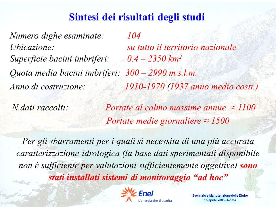Esercizio e Manutenzione delle Dighe 15 aprile 2003 - Roma Sintesi dei risultati degli studi Numero dighe esaminate: 104 Ubicazione: su tutto il terri