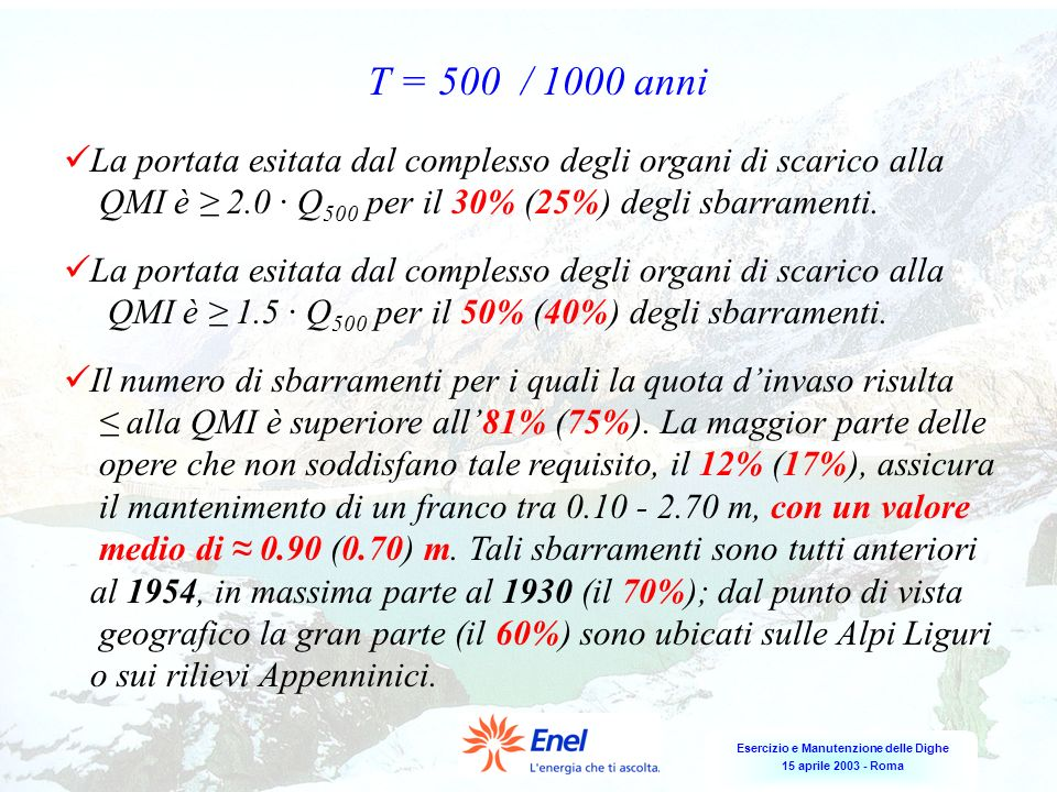 Esercizio e Manutenzione delle Dighe 15 aprile 2003 - Roma La portata esitata dal complesso degli organi di scarico alla QMI è 2.0 Q 500 per il 30% (2