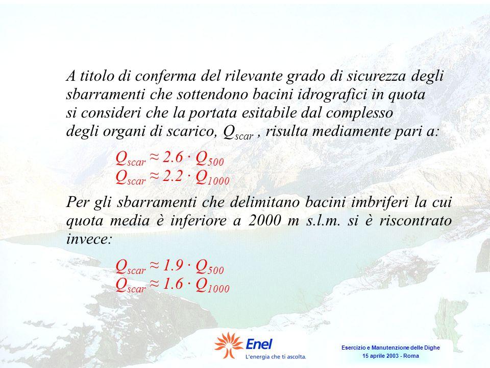 Esercizio e Manutenzione delle Dighe 15 aprile 2003 - Roma A titolo di conferma del rilevante grado di sicurezza degli sbarramenti che sottendono baci