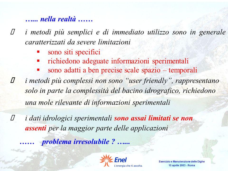 Esercizio e Manutenzione delle Dighe 15 aprile 2003 - Roma …... nella realtà …… i metodi più semplici e di immediato utilizzo sono in generale caratte