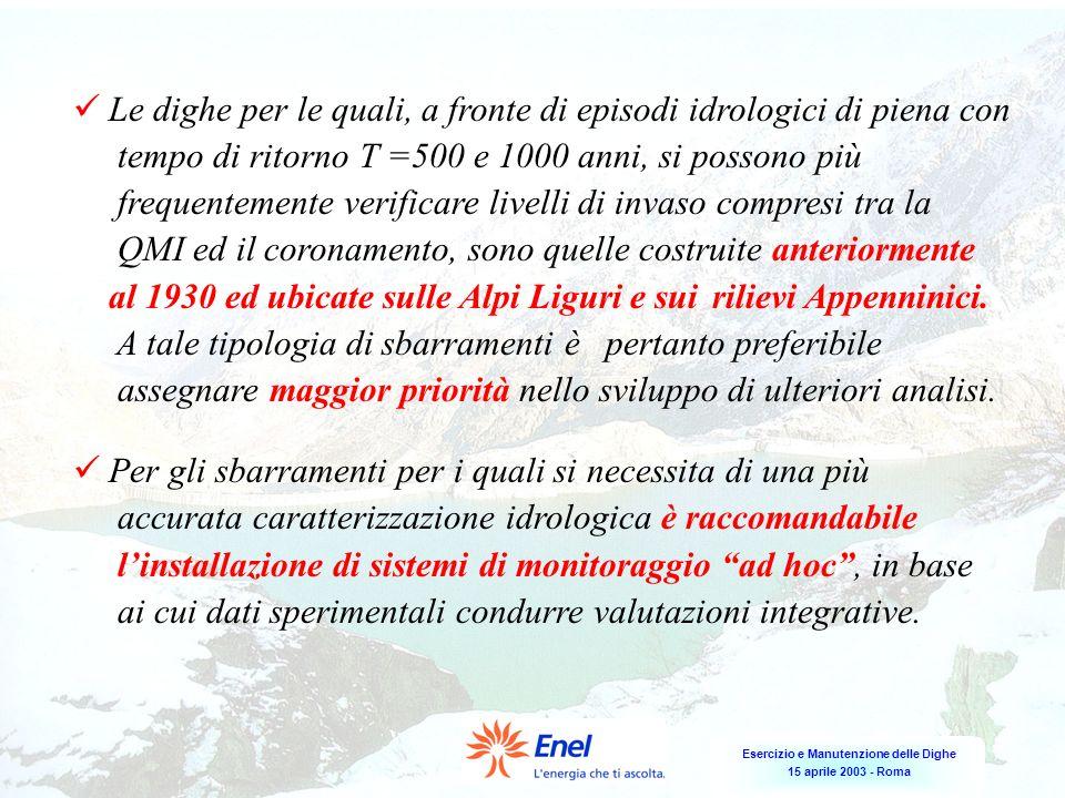 Esercizio e Manutenzione delle Dighe 15 aprile 2003 - Roma Le dighe per le quali, a fronte di episodi idrologici di piena con tempo di ritorno T =500