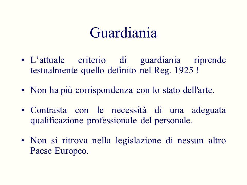 Guardiania Lattuale criterio di guardiania riprende testualmente quello definito nel Reg. 1925 ! Non ha più corrispondenza con lo stato dell'arte. Con