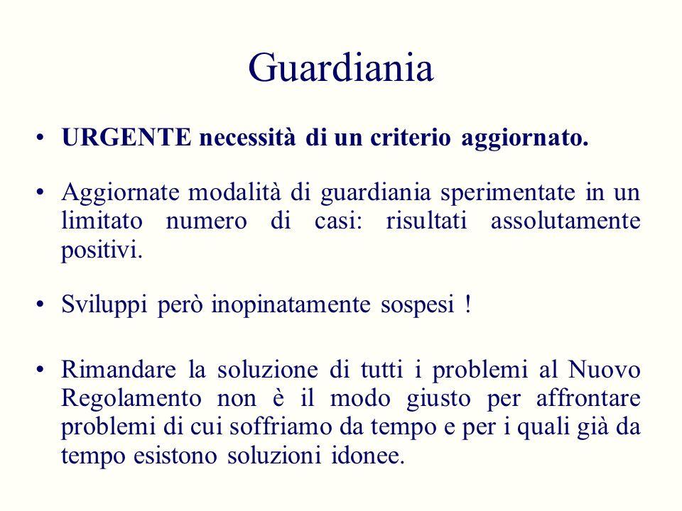 Guardiania URGENTE necessità di un criterio aggiornato. Aggiornate modalità di guardiania sperimentate in un limitato numero di casi: risultati assolu