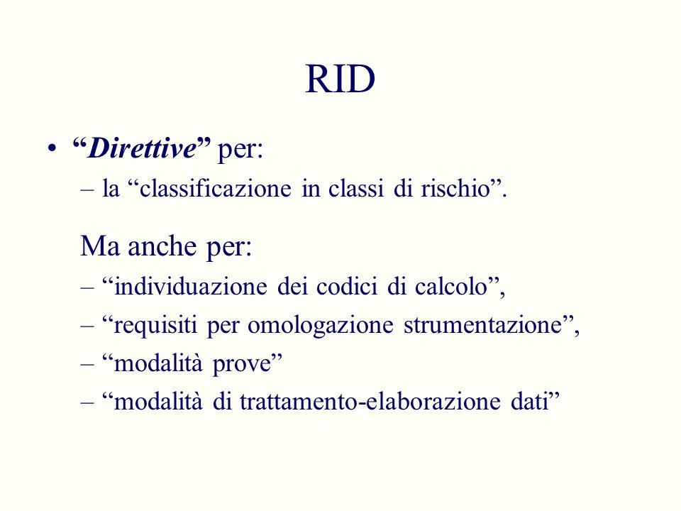 RID Direttive per: –la classificazione in classi di rischio. Ma anche per: –individuazione dei codici di calcolo, –requisiti per omologazione strument