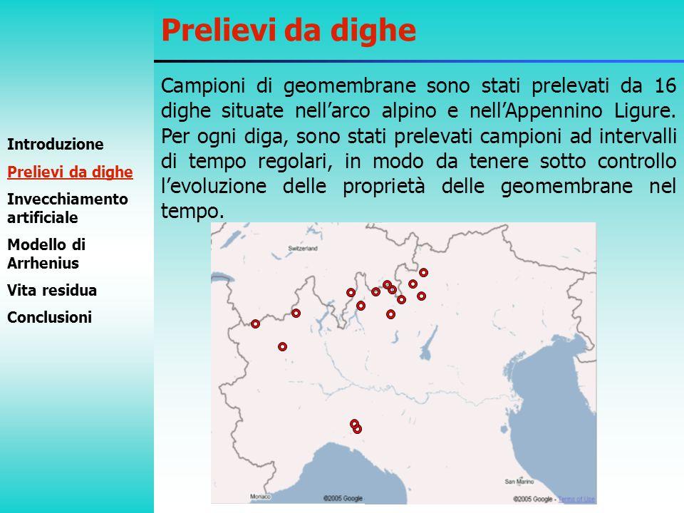 Campioni di geomembrane sono stati prelevati da 16 dighe situate nellarco alpino e nellAppennino Ligure. Per ogni diga, sono stati prelevati campioni