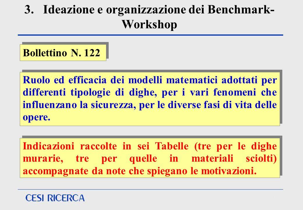 3. Ideazione e organizzazione dei Benchmark- Workshop Indicazioni raccolte in sei Tabelle (tre per le dighe murarie, tre per quelle in materiali sciol
