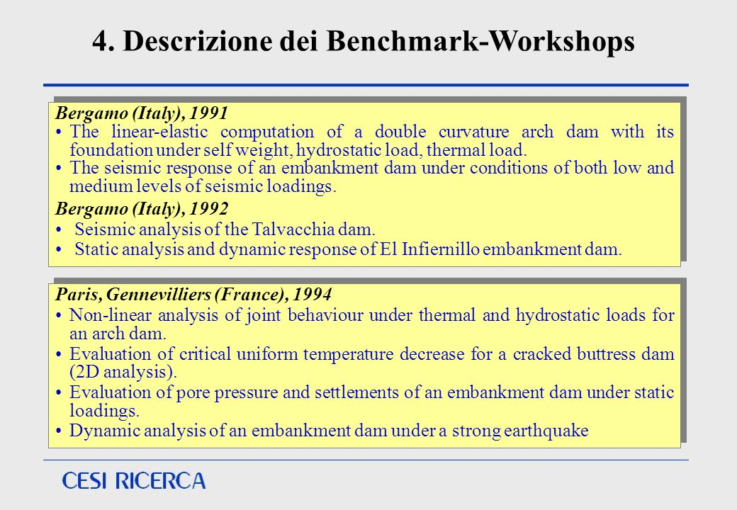 4. Descrizione dei Benchmark-Workshops Paris, Gennevilliers (France), 1994 Non-linear analysis of joint behaviour under thermal and hydrostatic loads
