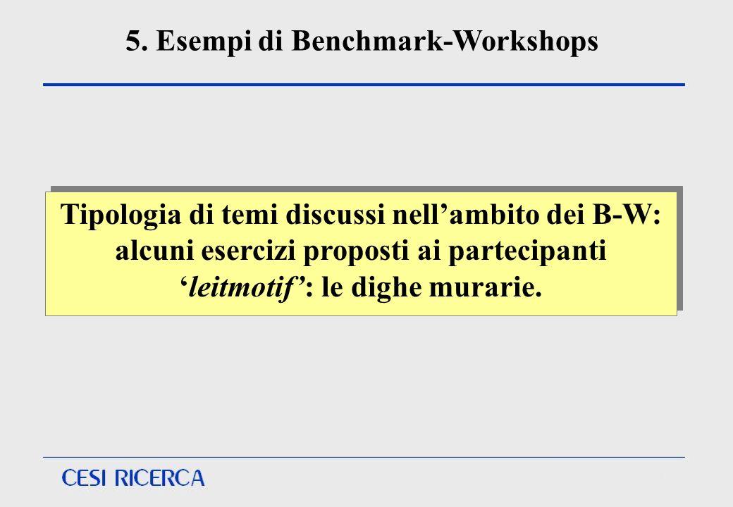 5. Esempi di Benchmark-Workshops Tipologia di temi discussi nellambito dei B-W: alcuni esercizi proposti ai partecipanti leitmotif: le dighe murarie.