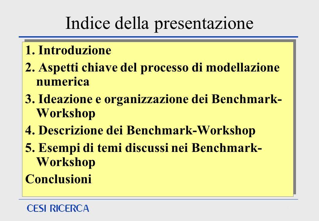 Indice della presentazione 1. Introduzione 2. Aspetti chiave del processo di modellazione numerica 3. Ideazione e organizzazione dei Benchmark- Worksh