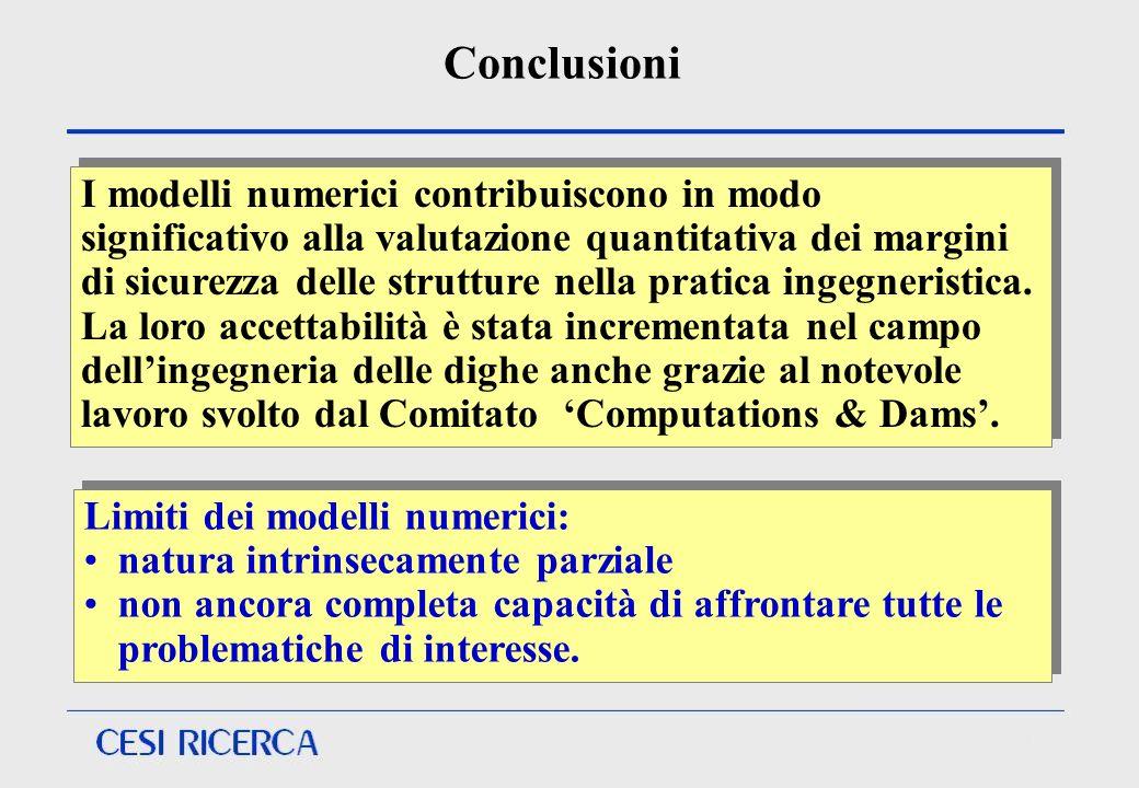 Conclusioni Limiti dei modelli numerici: natura intrinsecamente parziale non ancora completa capacità di affrontare tutte le problematiche di interess