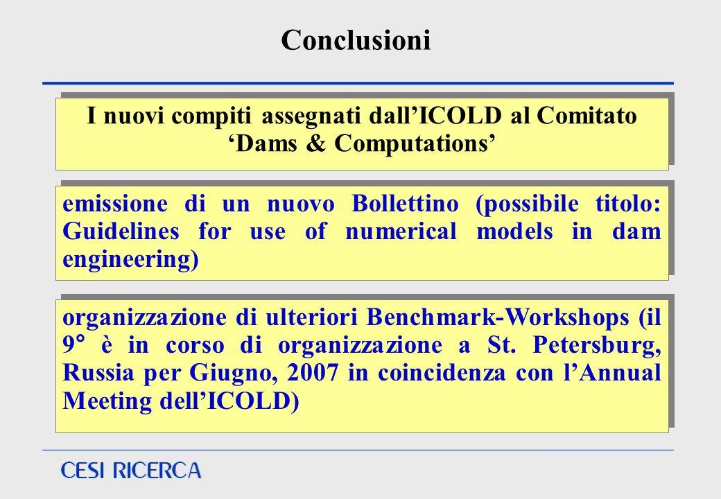 Conclusioni emissione di un nuovo Bollettino (possibile titolo: Guidelines for use of numerical models in dam engineering) organizzazione di ulteriori