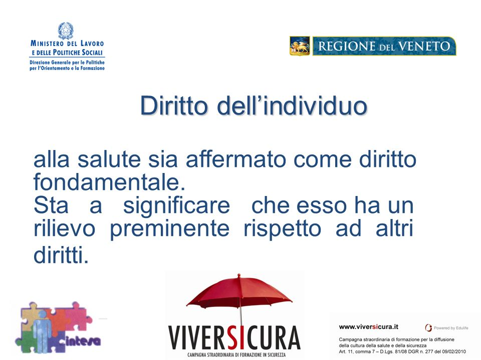 Logo Soggetto Attuatore Diritto dellindividuo Diritto dellindividuo alla salute sia affermato come diritto fondamentale.