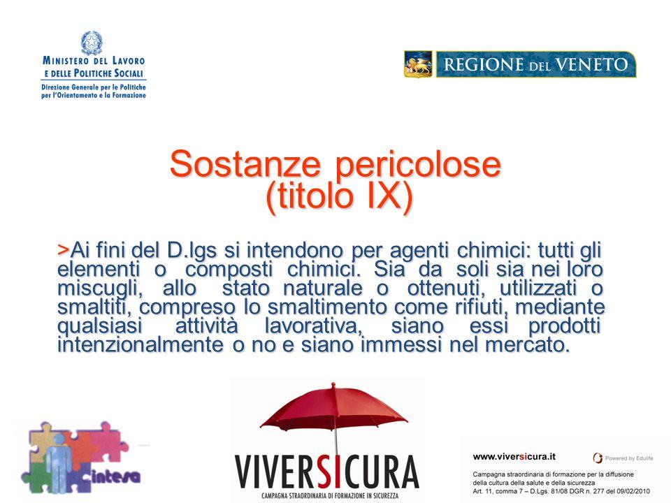 Logo Soggetto Attuatore Sostanze pericolose (titolo IX) >Ai fini del D.lgs si intendono per agenti chimici: tutti gli elementi o composti chimici.