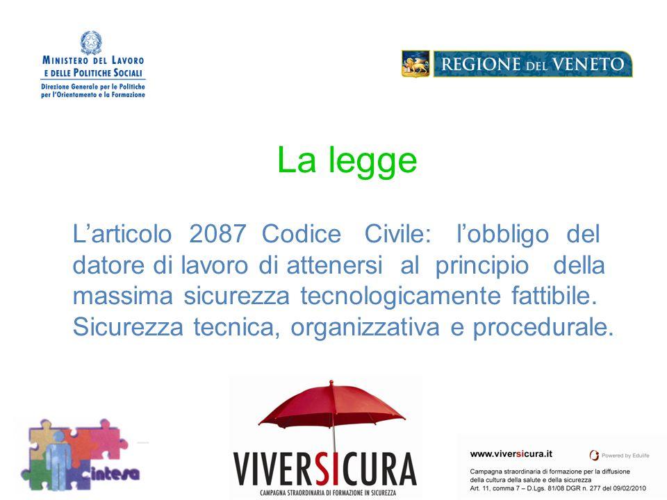 Logo Soggetto Attuatore La legge Larticolo 2087 Codice Civile: lobbligo del datore di lavoro di attenersi al principio della massima sicurezza tecnologicamente fattibile.
