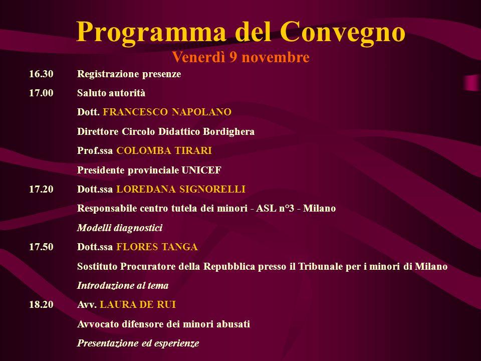 Programma del Convegno Venerdì 9 novembre 16.30Registrazione presenze 17.00Saluto autorità Dott. FRANCESCO NAPOLANO Direttore Circolo Didattico Bordig