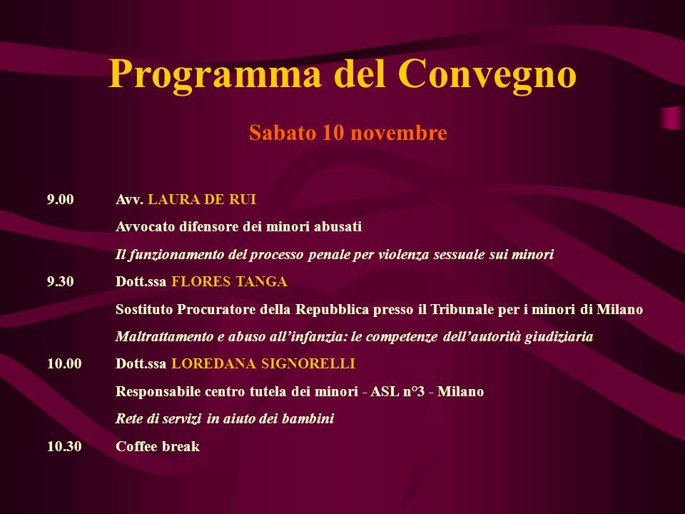 Programma del Convegno Sabato 10 novembre 9.00Avv. LAURA DE RUI Avvocato difensore dei minori abusati Il funzionamento del processo penale per violenz
