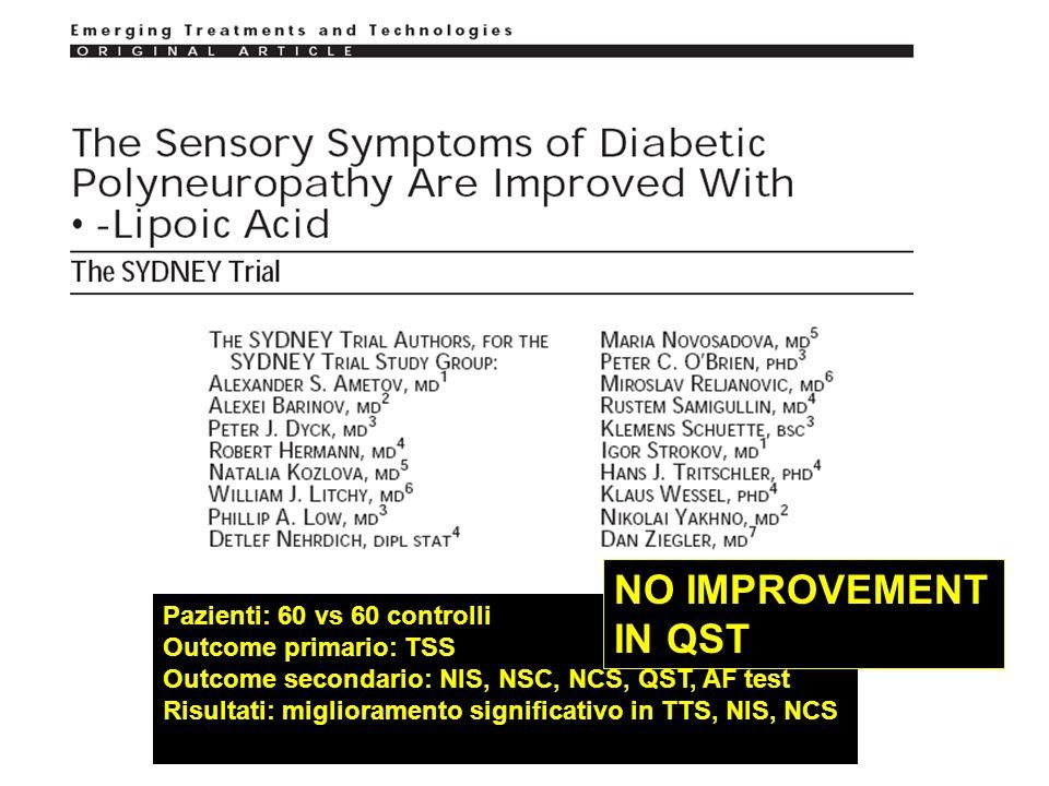 Pazienti: 60 vs 60 controlli Outcome primario: TSS Outcome secondario: NIS, NSC, NCS, QST, AF test Risultati: miglioramento significativo in TTS, NIS, NCS NO IMPROVEMENT IN QST