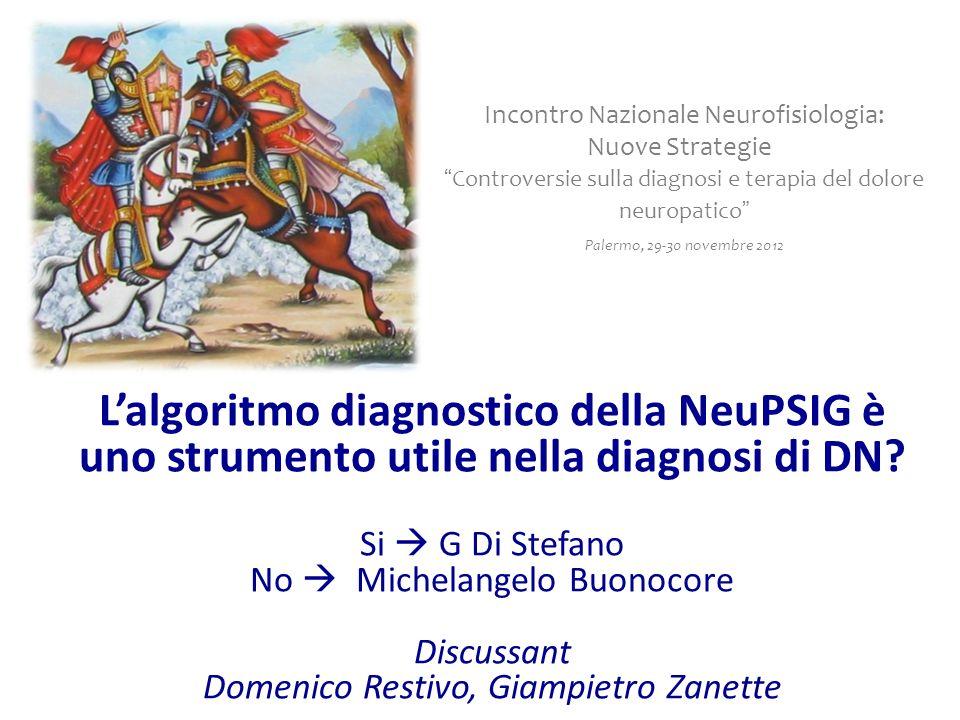 Lalgoritmo diagnostico della NeuPSIG è uno strumento utile nella diagnosi di DN? Si G Di Stefano No Michelangelo Buonocore Discussant Domenico Restivo