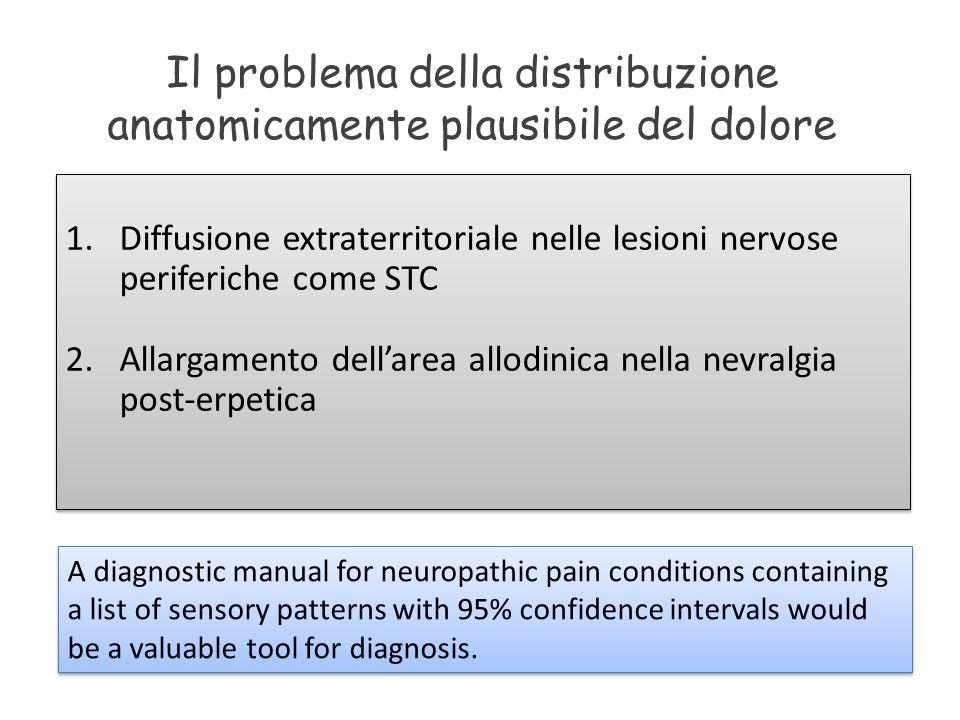 Il problema della distribuzione anatomicamente plausibile del dolore 1.Diffusione extraterritoriale nelle lesioni nervose periferiche come STC 2.Allar