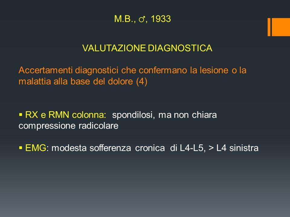VALUTAZIONE DIAGNOSTICA Accertamenti diagnostici che confermano la lesione o la malattia alla base del dolore (4) RX e RMN colonna: spondilosi, ma non