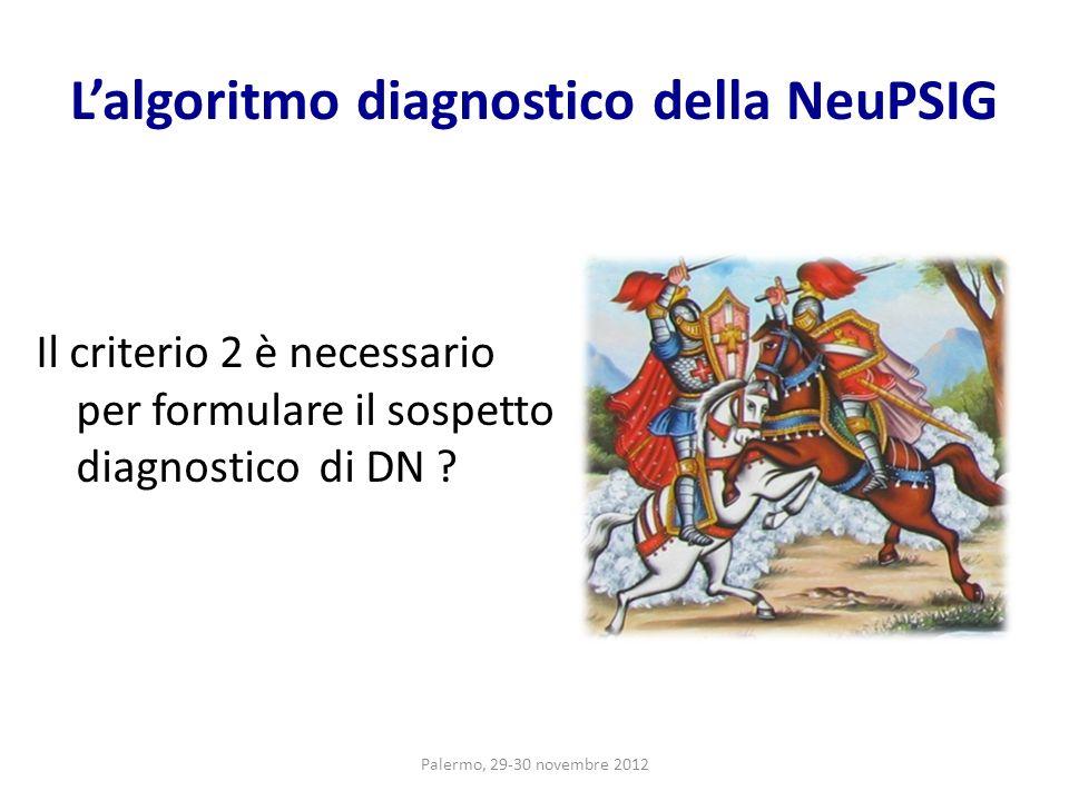 Lalgoritmo diagnostico della NeuPSIG Il criterio 2 è necessario per formulare il sospetto diagnostico di DN ? Palermo, 29-30 novembre 2012
