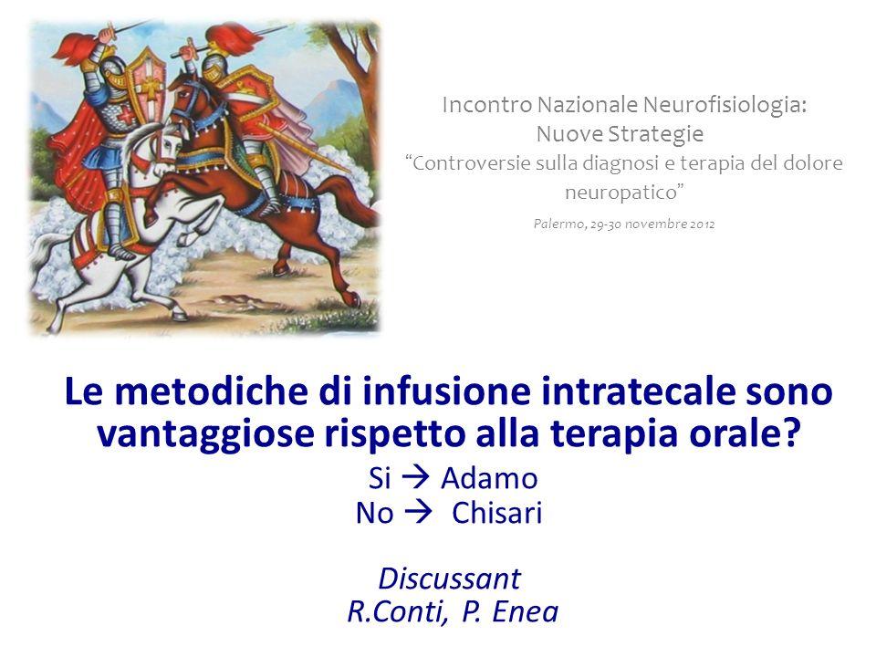 Le metodiche di infusione intratecale sono vantaggiose rispetto alla terapia orale? Si Adamo No Chisari Discussant R.Conti, P. Enea Incontro Nazionale