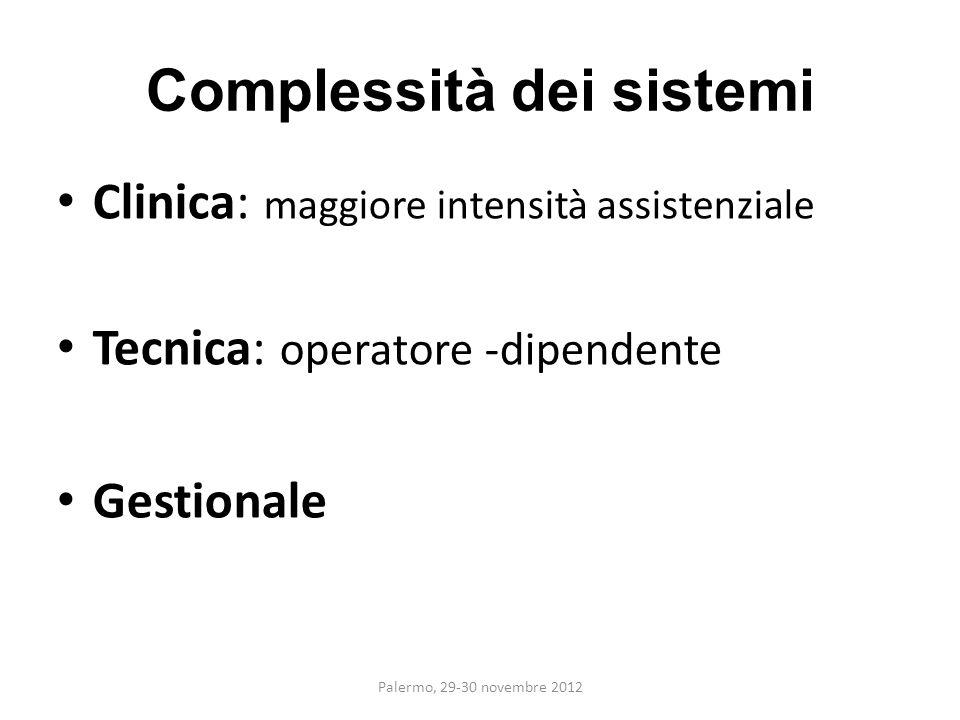 Complessità dei sistemi Clinica: maggiore intensità assistenziale Tecnica: operatore -dipendente Gestionale Palermo, 29-30 novembre 2012