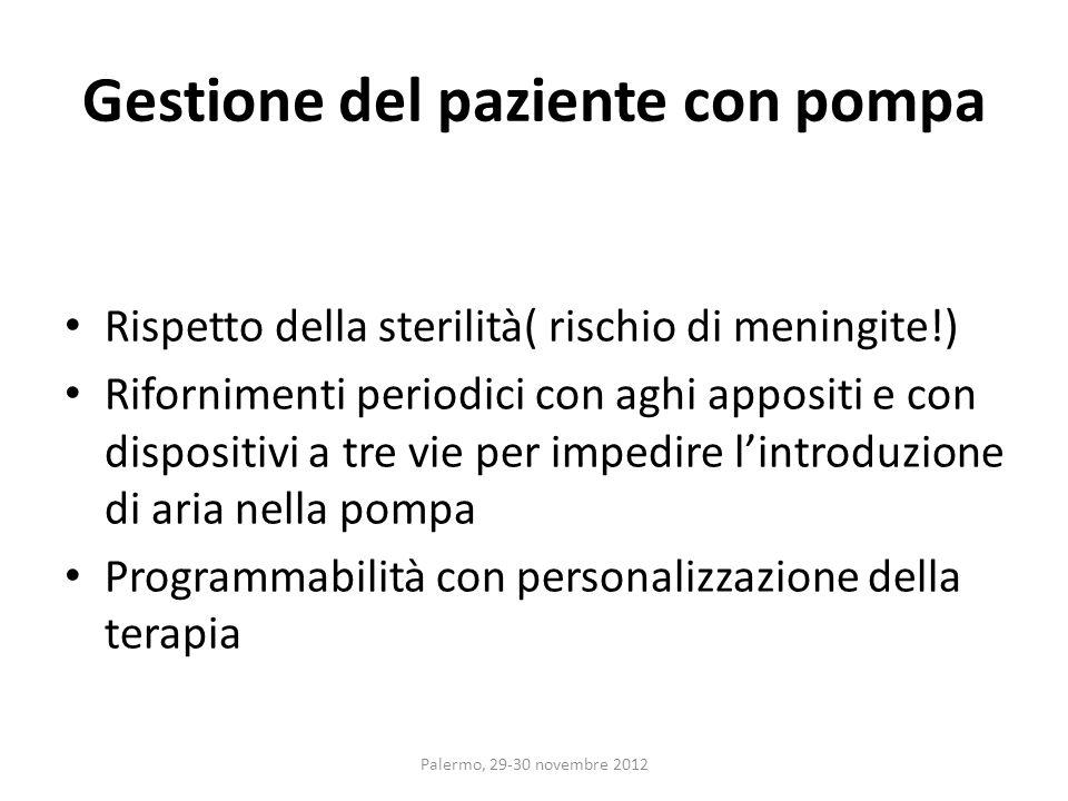 Gestione del paziente con pompa Rispetto della sterilità( rischio di meningite!) Rifornimenti periodici con aghi appositi e con dispositivi a tre vie